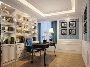 ,540平,80万,欧式,别墅,书房,白色,蓝色,
