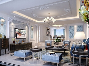 ,540平,80万,欧式,别墅,客厅,蓝色,白色,
