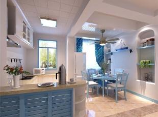 ,98平,8万,地中海,两居,餐厅,蓝色,白色,