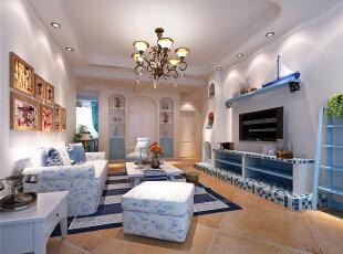 ,98平,8万,地中海,两居,客厅,白色,蓝色,
