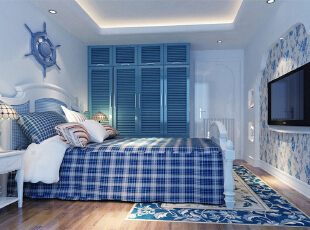 ,98平,8万,地中海,两居,卧室,蓝色,