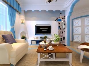 以蓝白色调为主的地中海风格,这是比较典型的地中海颜色搭配,配上暖色的灯光,不但没有违和感,反而显得更加温馨。电视背景墙采用了壁纸铺贴,希腊的白色村庄与沙滩和碧海、蓝天连成一片,配上波浪弧形吊顶更加显得自然,形成一种独特的浑圆造型,让人身在其中。,92平,7万,地中海,两居,客厅,简约,宜家,白色,蓝色,原木色,
