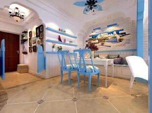 弧形顶的造型使得餐厅的整体空间更加圆滑,桌椅的颜色突出了地中海风格的主要色彩,餐厅背景墙的选用,白色的墙体配上地中海风景壁画,和客厅相呼应,同时,地中海风格的家居还要注意绿化,小巧可爱的绿色盆栽可以更好的点缀。,92平,7万,地中海,两居,餐厅,玄关,简约,白色,蓝色,
