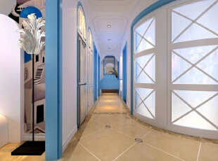 建筑中的圆形拱门及过道通常采用数个连接的方式,在走动观赏中,出现延伸般的透视感。马蹄门的设计使空间划分明确,给人视觉上的层次感。,92平,7万,地中海,两居,厨房,卫生间,蓝色,白色,简约,