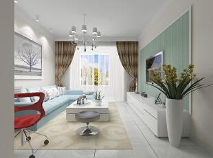 ,90平,60800万,现代,两居,客厅,绿色,白色,
