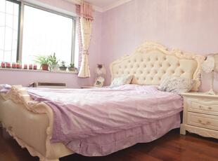 ,90平,10万,两居,田园,卧室,粉红色,
