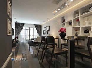 ,132平,20万,现代,三居,客厅,餐厅,黑白,