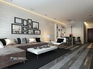 ,132平,20万,现代,三居,客厅,黑白,