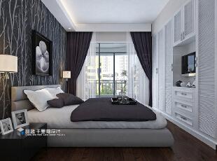 ,132平,20万,现代,三居,卧室,黑白,