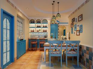,88平,12万,地中海,三居,餐厅,蓝色,黄色,