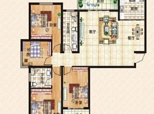 上东城144平方四室两厅现代简约装修效果图 户型图,144平,10万,现代,四居,客厅,