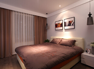 卧室设计效果图 随着社会的进步,人们在事业、生活、精神各方面的压力越来越大,很需要宁静、和谐、秀美的环境气氛,而这种氛围的营造,往往有赖于室内设计中的简约主义设计。,95平,7万,混搭,两居,