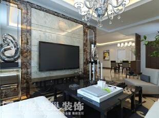 蓝堡湾189平5室2厅现代简约装修效果图--电视墙,189平,30万,现代,大户型,