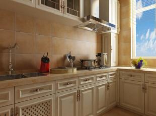 厨房中以米白色的整体橱柜与浅色大理石台面结合,淡橘色的墙面瓷砖让整间厨房都呈现出一种淡雅清新的感觉。,280平,35万,田园,别墅,