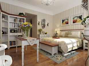 在卧室中加以绿植的点缀,让这个睡眠空间与自然更接近一些。,280平,35万,田园,别墅,