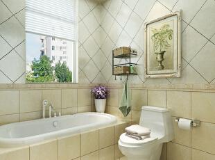 米色瓷砖与白色瓷砖拼接而成的这一卫浴空间,在卫生间的墙面上挂上一幅装饰画能达到不错的视觉效果哦。,280平,35万,田园,别墅,