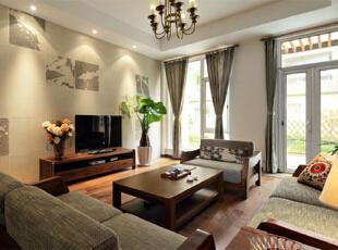 ,250平,30万,中式,公寓,客厅,黄色,原木色,
