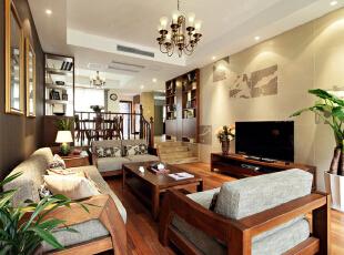 ,250平,30万,中式,公寓,客厅,原木色,黄色,