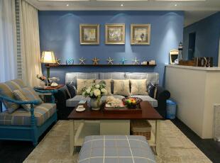 ,120平,10万,现代,四居,客厅,蓝色,白色,