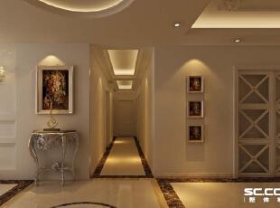 玄关是入户的一个亮点,同时也是过度客厅与餐厅的分割,地面做了圆形拼花,相互应顶面做了圆形灯池吊顶。,180平,14万,欧式,四居,