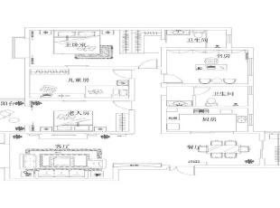 龙湖花园欧式风格-户型图,180平,14万,欧式,四居,