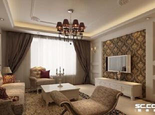 与客厅应,使了同样的深色大马士革,使用了茶镜,茶有拉伸空间的作用,色的欧式家具增加空间的优雅浪漫。,180平,14万,欧式,四居,