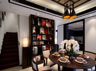 ,340平,49万,中式,别墅,餐厅,原木色,白色,
