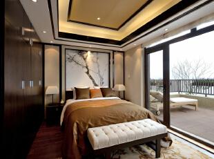 ,340平,49万,中式,别墅,卧室,原木色,