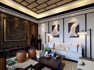 ,340平,49万,中式,别墅,客厅,原木色,白色,
