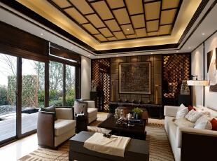 ,340平,49万,中式,别墅,客厅,原木色,