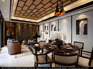 ,340平,49万,中式,别墅,餐厅,原木色,