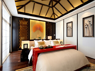 ,340平,49万,中式,别墅,卧室,白色,原木色,