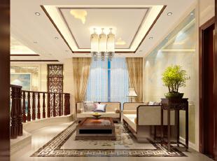 ,300平,35万,中式,别墅,客厅,黄色,原木色,