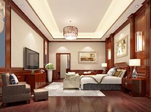 ,300平,35万,中式,别墅,卧室,原木色,