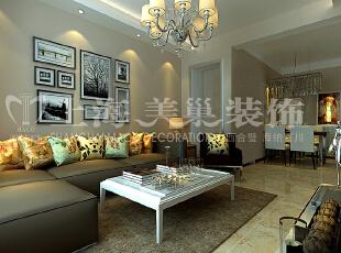 润城87平两室两厅现代简约风格沙发背景装修效果图,87平,8万,现代,两居,客厅,白色,