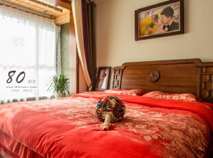 ,130平,4万,混搭,三居,卧室,原木色,红色,白色,