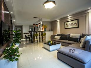 ,130平,4万,现代,三居,客厅,白色,原木色,紫色,