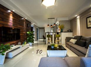 ,130平,4万,现代,三居,客厅,白色,原木色,