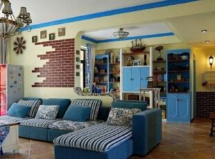 客厅,121平,15万,地中海,两居,实创装饰,客厅,蓝色,