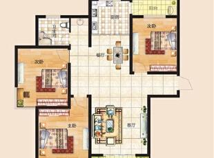 上东城115平方三室两厅新中式装修效果图 户型图,115平,6万,中式,三居,客厅,