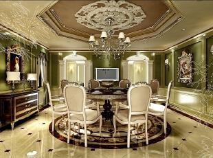 ,170平,50万,新古典,别墅,餐厅,绿色,