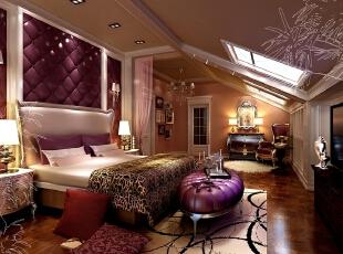 ,170平,50万,新古典,别墅,卧室,紫色,
