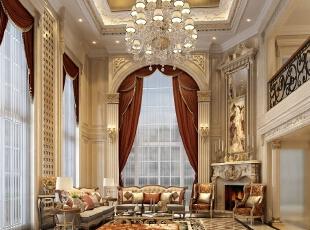 ,170平,50万,新古典,别墅,客厅,黄色,