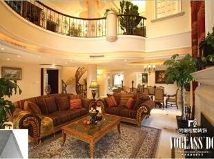 ,674平,10万,美式,别墅,客厅,原木色,