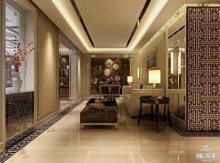 天津尚层__别墅设计,500平,120万,中式,别墅,客厅,黄色,
