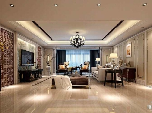 天津尚层__别墅设计,500平,120万,中式,别墅,客厅,白色,