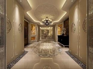 天津尚层__别墅设计,500平,120万,中式,别墅,过道,白色,