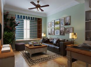 ,88平,9.5万,中式,两居,客厅,绿色,