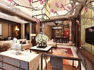 以高洁、坚强、谦虚的梅花来隐喻主人的品格,以原汁原味的木质为主要元素,配以温馨舒适的布艺和祥云地毯,在灯光的渲染下使整个空间富有品味与内涵。,800平,400万,中式,别墅,客厅,原木色,
