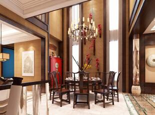 """挑空设计的餐厅空间非常典雅大气,朴实而自然的家具材质给人一种成熟的温暖感觉,圆形的设计寄托着家人""""团圆美满""""的美好心愿。大红色的边柜,几朵红梅的点缀,既有着中式的韵味,又营造出喜庆的空间氛围。,800平,400万,中式,别墅,餐厅,原木色,"""
